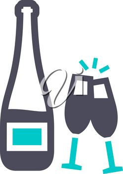champagne, gray turquoise icon on a white background