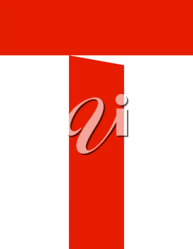 letter T cut out from white paper, vector illustration, flat style.