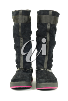 female winter boots on white background