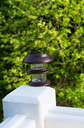 Vertical photo of solar lamp, during day light, on deck post with green trees in background