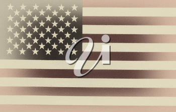 Vintage concept of United States of America flag in horizontal layout. Cloth Texture with grain.