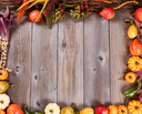 Overhead view of seasonal autumn gourd decorations, complete borders, on rustic wooden boards.
