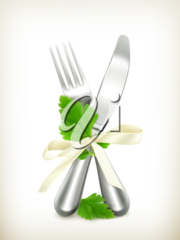 Table knife and fork with parsley, vector icon