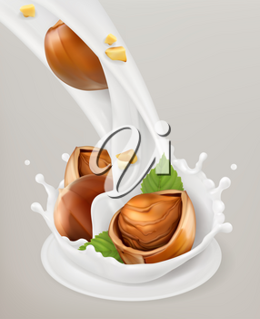 Milk splash and hazelnuts. 3d vector object. Natural dairy products