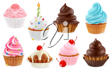 Cupcake, fairy cake. 3d realistic vector icon set