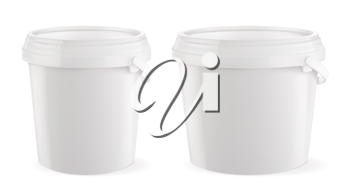 Packaging building and sanitary. White plastic bucket. 3d realism, vector mockup