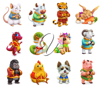 Funny animal in the Chinese zodiac, Rat, ox, tiger, rabbit, dragon, snake, horse, sheep, monkey, rooster, dog, pig. Chinese calendar, 3d vector icon set
