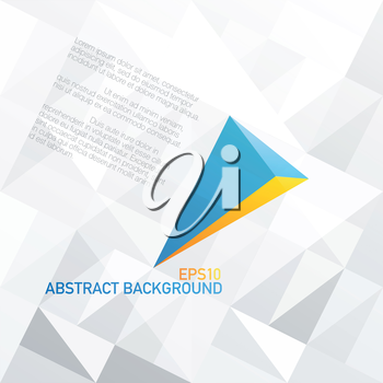 Blue arrow with orange accent. Abstract background design, vector, EPS10