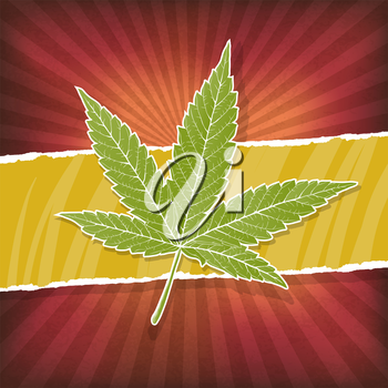Background with cannabis leaf and rasta colors