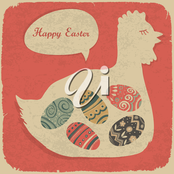 Easter eggs and chiken. Retro styled illustration.