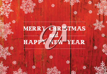 Merry Christmas Greeting On Red Planks Texture. Vector
