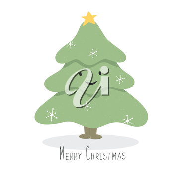 Happy and smile Christmas Tree Character. Vector cartoon illustration