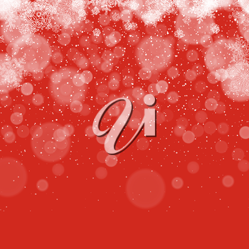 Merry Christmas Abstract Background. Snowflakes pattern. Snowy holiday background. Snow fall. On red.