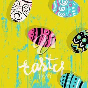 Easter eggs on wooden board.  Happy Easter greetings card. Bright colors.