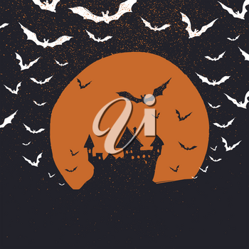 Halloween poster background. Castle, bats and moon. Isolated to black