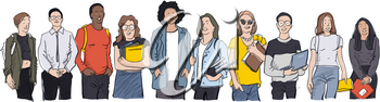 Young students of different nations. Happy students with backpacks and books. Happy multicultural teenagers in youth lifestyle clothes.  Vector illustration on white background, isolated.