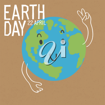 Cute Earth character with victory sign gesture. Earth day . Save the earth concept poster. Vector illustration