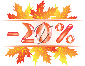 Autumn sale ad with falling maple leaves. 20 percent discount