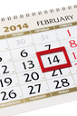 Calendar page with red frame on February 14 2014. Closeup.