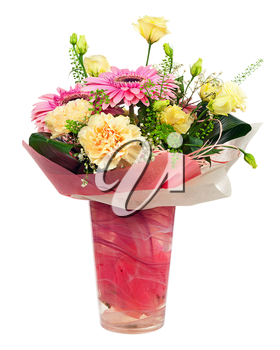 Bouquet of gerbera, carnations and other flowers in red  package isolated on white background.