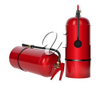 Fire extinguishers isolated on white background. Detailed illustration. 3D rendering.
