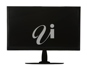 Black lcd monitor isolated on white background. Closeup.