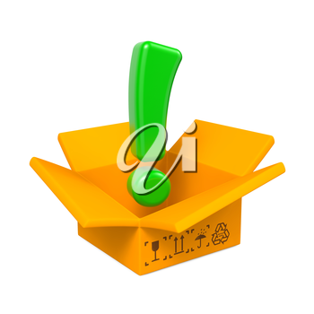 Opened Box with Green Exclamation Mark. Isolated on White.