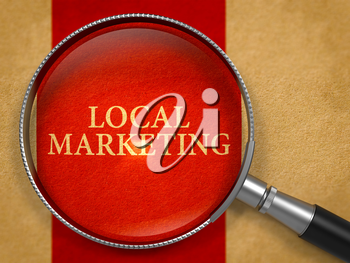 Local Marketing through Magnifying Glass on Old Paper with Crimson Vertical Line Background. 3D Render.
