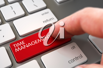 Hand Pushing Time Management Red Laptop Keyboard Keypad. Selective Focus on the Time Management Button. Finger Pushing Time Management Button on Modern Keyboard. 3D Illustration.