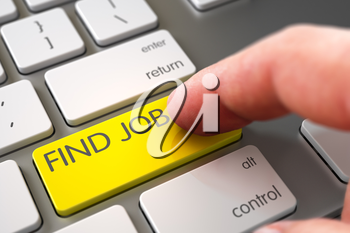 Finger Pressing on Slim Aluminum Keyboard Yellow Key with Find Job Sign. 3D Render.