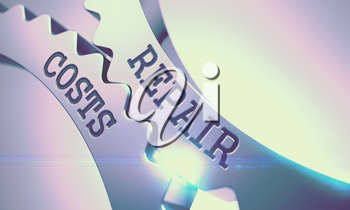 Repair Costs on the Mechanism of Shiny Metal Gears with Glowing Light Effect - Communication Concept . Repair Costs on Shiny Metal Gears, Communication Illustration with Glow Effect . 3D Render .