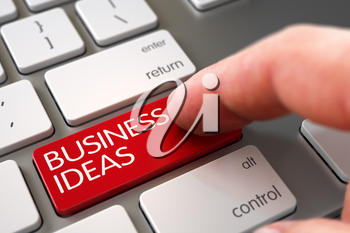 Close Up view of Male Hand Touching Red Business Ideas Computer Button. 3D Render.
