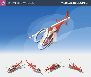 Isometric Medical Helicopter Evacuation. Air Medical Service. Flat 3d Illustration. For Infographics, Design and Games.