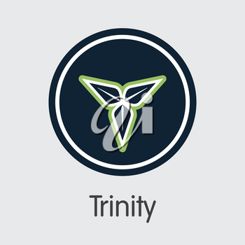 Trinity - Cryptographic Currency Element. Vector Element of Blockchain Cryptocurrency Icon on Grey Background. Vector Icon TTY.