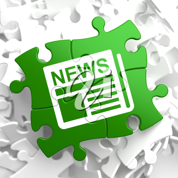 Newspaper Icon with News Word on Green Puzzle. Mass Media Concept.