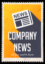 Company News on Yellow Background. Vintage Concept in Flat Design with Long Shadows.
