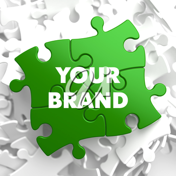 Your Brand on Green Puzzle on White Background.
