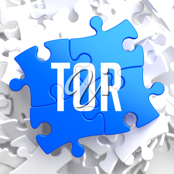 TOR - Blue Puzzle on White Background.
