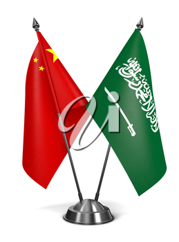 Royalty Free Clipart Image of China and Saudi Arabia Miniature Flags
