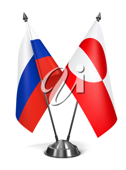 Russia and Greenland - Miniature Flags Isolated on White Background.