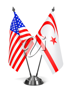 USA and Turkish Republic Northern Cyprus - Miniature Flags Isolated on White Background.