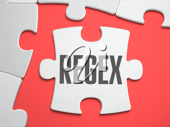 Regex - Regular Expression - Text on Puzzle on the Place of Missing Pieces. Scarlett Background. Close-up. 3d Illustration.