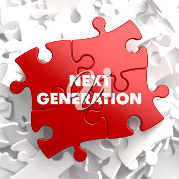 Next Generation on Red Puzzle on White Background.