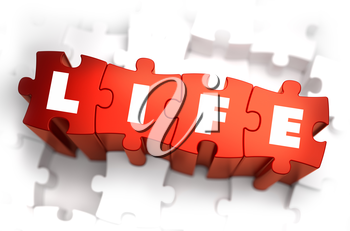 Life - Text on Red Puzzles with White Background. 3D Render.