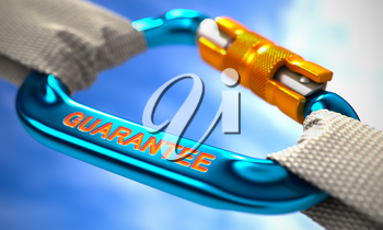 Strong Connection between Blue Carabiner and Two White Ropes Symbolizing the Guarantee. Selective Focus. 3d Illustration.