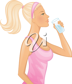Vector illustration of Young woman drinking water