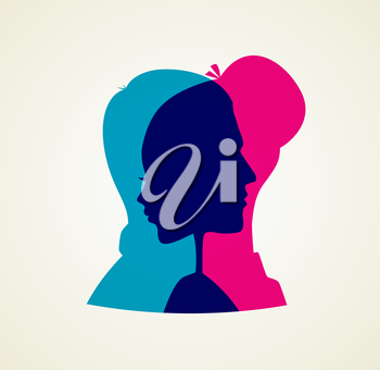 Vector illustration of Couple's silhouette