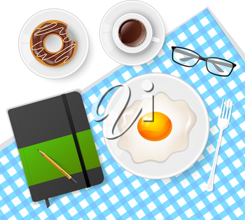 Vector illustration of Tasty breakfast with coffee and eggs