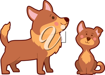 Vector illustration of dog and its puppy on white background