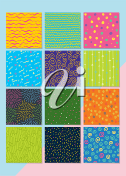 Set of different and colorful geometric seamless patterns